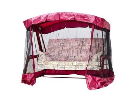 Садовые качели Мадрид PREMIUM SELECTION 180 см, ф 51 мм, подголовник + антимоскитная сетка, бордо
