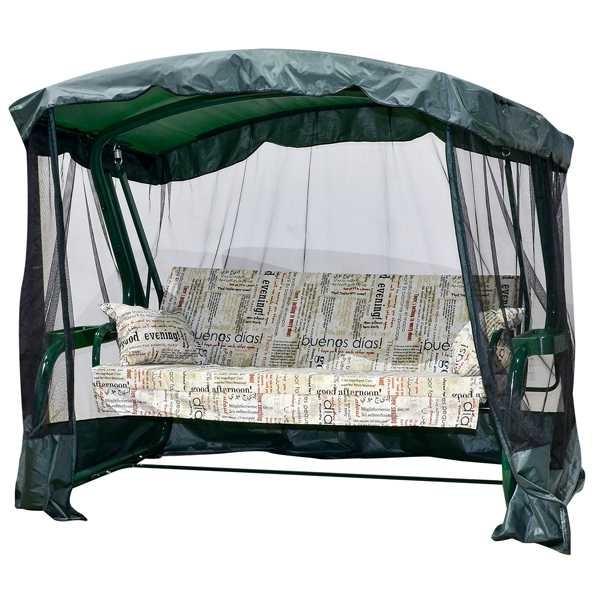 Садовые качели LETOLUX Мадрид+ 180см, ф 51мм, с антимоскитной сеткой, зеленый ЛЛКЧ 07G