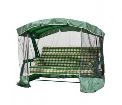 Садовые качели LUXEMBOURG 200 см, ф 60 мм подголовник + антимоскитная сетка, зеленый