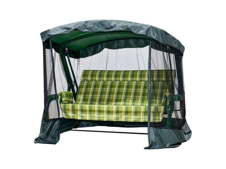 Садовые качели Сакура PREMIUM 180 см, ф 60 мм, подголовник + антимоскитная сетка, зеленый