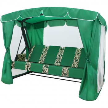 Садовые качели Arno-Werk  ОАЗИС ЛЮКС PLUS серый/зеленый, 4-х местные, ф 51 мм, + АМС, до 300 кг