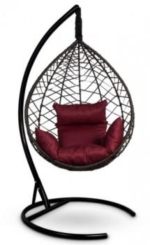Кресло-кокон подвесное ALICANTE черное+бордовая подушка, до 150 кг ЦН