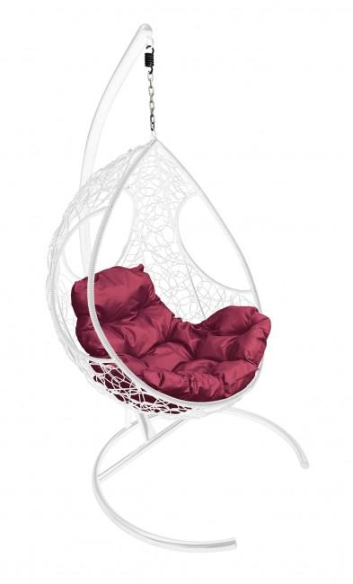 Кресло-кокон подвесное FERROL белое+малиновая подушка