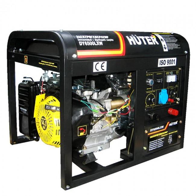 Генератор бензиновый HUTER DY 6500 LXW с функцией сварки, с колесами
