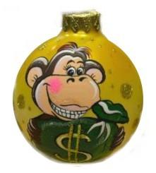 Шар Д=8см Обезьянка с мешком денег, в подарочной упаковке КУ-80-1501