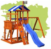 Деревянный детский домик для дачи Бретань (11 мест + горка)