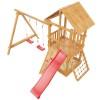Деревянный детский домик для дачи Сибирика с сеткой (9 мест+горка 2,5 м+крыша) (17)