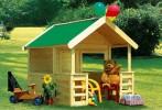 Деревянный детский домик для дачи Гардо Легно с террасой, 125*215*150 см, НЕ окрашенный