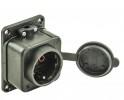 Розетка BEMIS BK1-1402-2511  220B  16A  1гнездо  IP54 с з/к и крышкой, каучуковая, черная