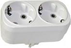 Разветвитель электрический с заземлением FIT 2 гнезда, 16А, 250В, плоский белый 83317