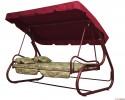 Садовые качели Деловой Стиль Титан 3-х местные, ф 60 мм, тк. Гобелен, бордо, до 300 кг