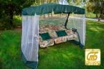 Садовые качели OLSA Турин Премиум с антимоскитной сеткой, темно-зеленый (с 827) (2 места)
