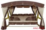 Садовые качели Arno-Werk  ЗОЛОТАЯ КОРОНА Gold-Шоколад, 4-х местные, ф 76 мм, + АМС, до 500 кг