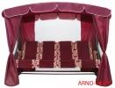 Садовые качели Arno-Werk  ОАЗИС ЛЮКС PLUS серый/бордо, 4-х местные, ф 51 мм, + АМС, до 300 кг