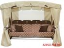 Садовые качели Arno-Werk  МОНАРХ шоколад/шоколад/беж., 4-х мест., ф 63 мм, + АМС, +LED, до 400 кг