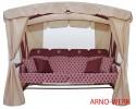 Садовые качели Arno-Werk  МОНАРХ бордо/бордо/беж., 4-х мест., ф 63 мм, + АМС, +LED, до 400 кг