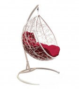 Кресло-кокон подвесное LAGOS белое+бордо подушка