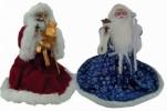 Дед Мороз музыкальный 51см, со свечей/фонарем, длинная синяя шуба, посох Е 60806