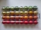 Набор шаров Д=7см*8шт., 2цв., искра/блест./стекло/блестящ. с полосками Е 80262