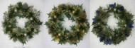 Венок елочный 36см, шишки/шарики/цветы/фрукты Е 60272