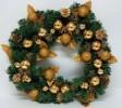 Венок елочный 45см золотые шары, 4цв. Е 50764