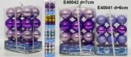 Набор шаров Д=6см*24шт., 4цв., стиль микс, матовый/блест., в ПВХ Е 40041