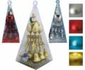 Набор Шар*4см*3шт.+Колокола+Снежинки+Шишки+Дед Мороз+ Бусы-шар 10м 4цв. в ПВХ Е 70203