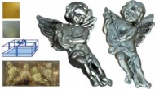 Ангел 9см*4шт. с муз. инструм. блест./матов. в золот. коробке Е 80244