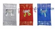 Мешочек для подарка 15*24см С Новым годом органза с узором, органза Е 80360