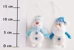 Кукла Снеговик/Дед Мороз/Ангел 13см, 3цв., блест. материал мягкий Е 91382