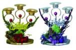 Подсвечник металл свечи 17см, с цветком, 3шт. Е 92056