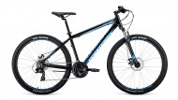 Велосипед 27,5' хардтейл, рама алюм. FORWARD APACHE 27,5 2.0 disc сер./голуб., 21ск.,17' RBKW0M67Q02