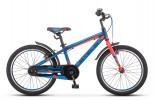 Велосипед 20' рама алюминий STELS PILOT-250 Gent темно-синий/неон-красный, 1 ск., 11' V010 (А21)