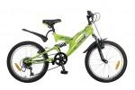 Велосипед NOVATRACK 20' двухподвес, SHARK Falcon зеленый, 1ск. 20 SS 1V.SHARK. GN 7