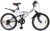 Велосипед 20' двухподвес NOVATRACK DART черный/белый, 6 ск. 20 SS 6V.DART.WT 20