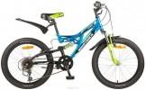 Велосипед 20' двухподвес NOVATRACK SHARK тормоз V-brake, синий, 6 ск. 20 SS 6V.SHARK.BL 20