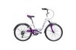Велосипед 24' рама женская NOVATRACK BUTTERFLY белый-фиолетовый, 6-ск., 13' 24SH6V.BUTTERFLY.13VL9