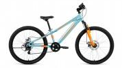 Велосипед 24' хардтейл, рама алюминий FORWARD RISE 24 2.0 disc голуб./оранж., 7ск., 11' RBKW91647006