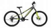 Велосипед 24' хардтейл, рама алюминий FORWARD RISE 24 2.0 disc серый/зеленый, 7ск., 11' RBKW91647007