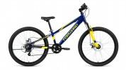 Велосипед 24' хардтейл, рама алюминий FORWARD RISE 24 2.0 disc синий/желтый, 7 ск., 11' RBKW91647009