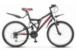 Велосипед 24' двухподвес STELS Challenger V чёрный/красный 2020, 21 ск., 16' Z010 (LU084627)