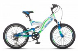 Велосипед 20' двухподвес STELS MUSTANG V зеленый 2020, 6 ск., 13' V010 (LU092147)