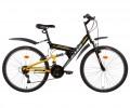 Велосипед ALTAIR 26' двухподвес, ALTAIR MTB FS V-brake, черный/оранжевый, 18 ск. RBKT7SN6P005