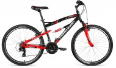 Велосипед 26' двухподвес FORWARD BENFICA 26 1.0 черн.\крас. мат. 18 ск., 18' RBKW8SN6H007