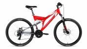 Велосипед 26' двухподвес FORWARD RAPTOR 26 2.0 disc красный\серый мат., 21 ск., 18' RBKW8S6Q003