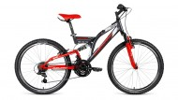Велосипед 26' двухподвес FORWARD RAPTOR 26 2.0 disc серый\черный, 21 ск., 18' RBKW8S6Q002