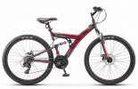 Велосипед 26' двухподвес STELS FOCUS MD диск, черный/красный 21 ск., 18' V010