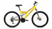 Велосипед 26' двухподвес ALTAIR MTB FS 26 2.0 disc желтый/серый мат., диск, 18 ск., 18' RBKN9SN6P006