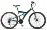 Велосипед 27,5' двухподвес STELS FOCUS MD диск, синий/неон. зелёный 21 ск., 19' (2020) V010 LU089832