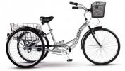 Велосипед 26' рама алюминий STELS ENERGY-III серый/черный, +корзина-2 шт., 3 ск., 16'